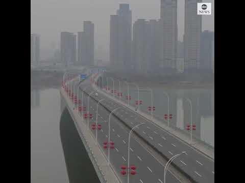 Streets of Wuhan deserted amid coronavirus outbreak (Drone Footage)