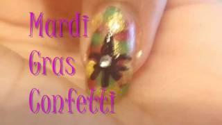 ♦Mardi Gras Confetti Nail Art Tutorial♦ Thumbnail