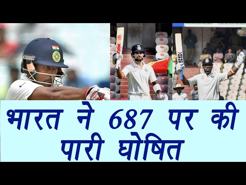 India declares at 687/6, Virat Kohli smashes 204, Saha hits 106 not out  | वनइंडिया हिंदी