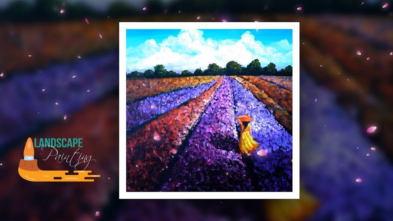 Vẽ Tranh Phong Cảnh Cánh Đồng Hoa / Girl in Field of Flowers Painting Tutorial / Acrylic Painting#14
