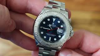 Rolex YachtMaster Platinum Blue dial - short show and lume