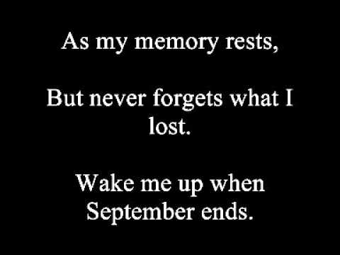 Green Day - Wake Me Up When September Ends Lyrics
