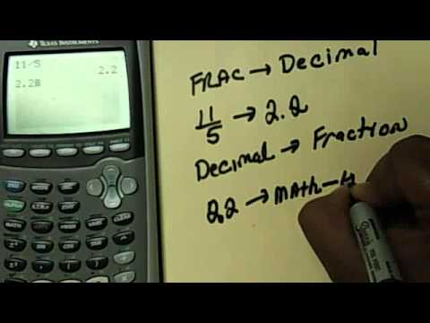 How To Change A Fraction To Decimal In The Ti Calculator Youtube