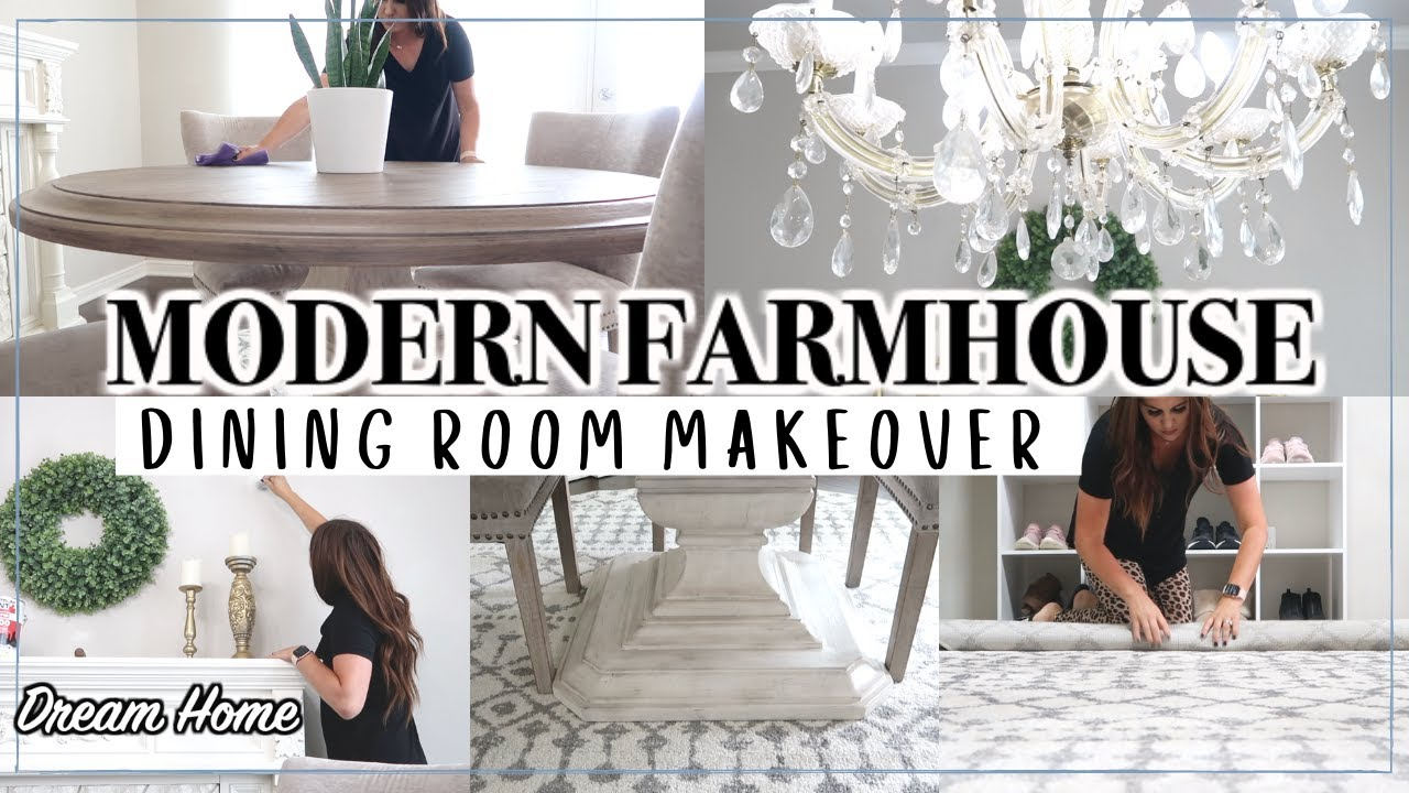 Small Dining Room Makeover On A Budget Modern Farmhouse Dining Room Decorating Ideas Youtube