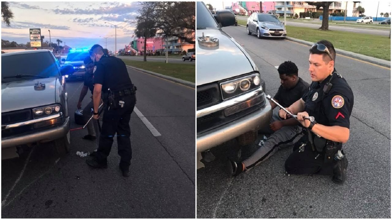 police-officer-doesn-t-have-spare-tire-to-help-stranded-driver-so-he-calls-his-mom-for-backup