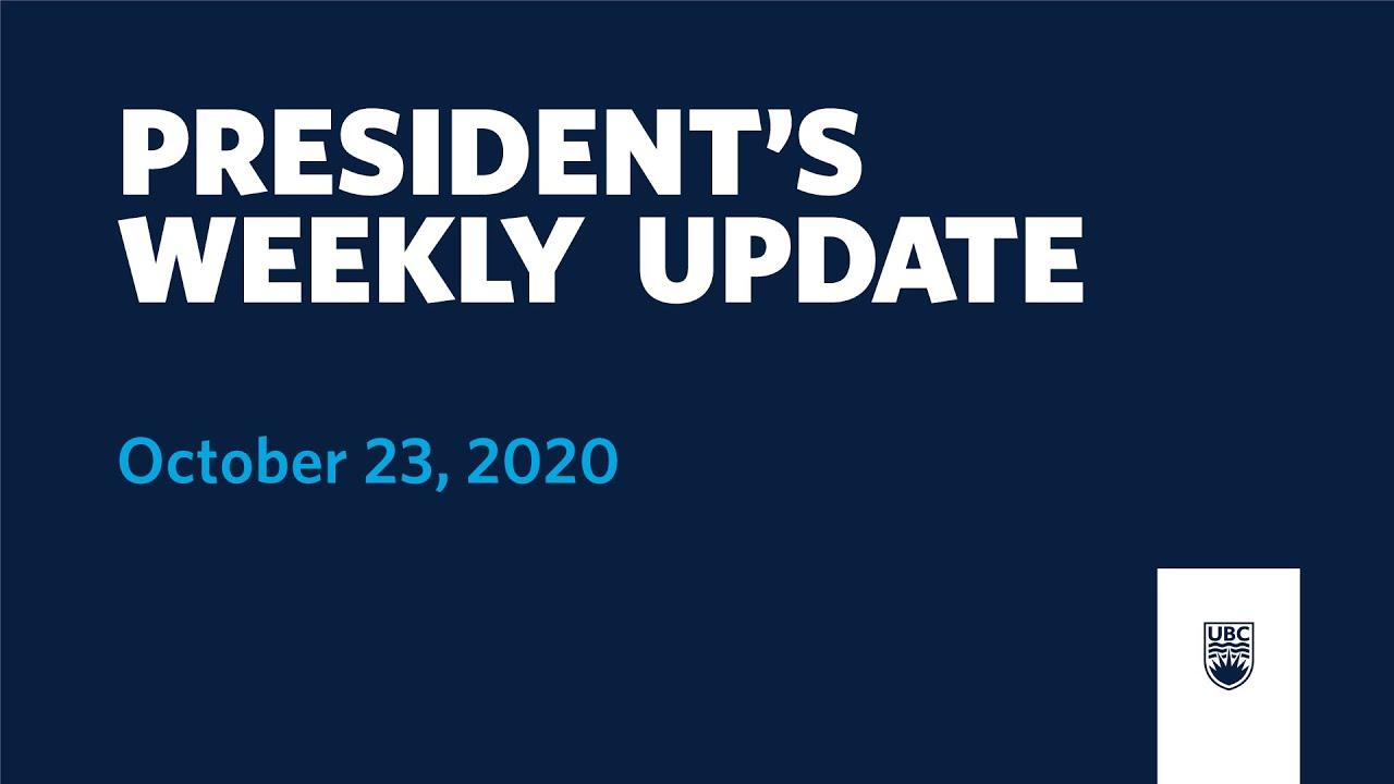 President's Weekly Update: October 23, 2020