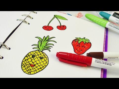 Malen im Filofax 🍒 süße Früchtchen 🍓 Kathi malt Obst 🍍 Erdbeer, Kirsche & Ananas | Sommer