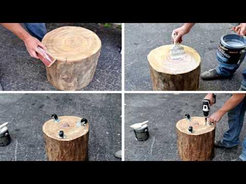 Поделки из спилов дерева для дачи своими руками фото