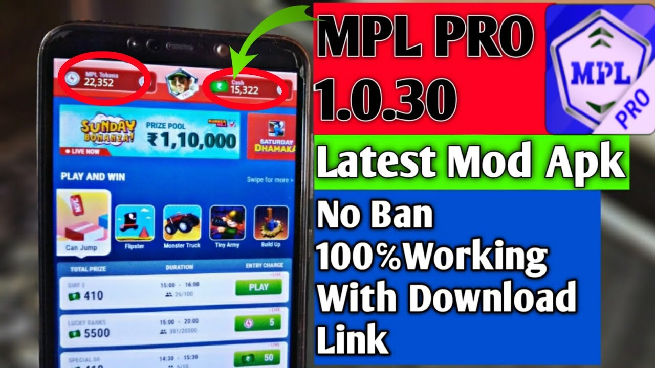 MPL PRO 1.0.30 Latest Mod Apk No Ban | 100℅Working With Download Link🔥🔥(Expired)  #Smartphone #Android