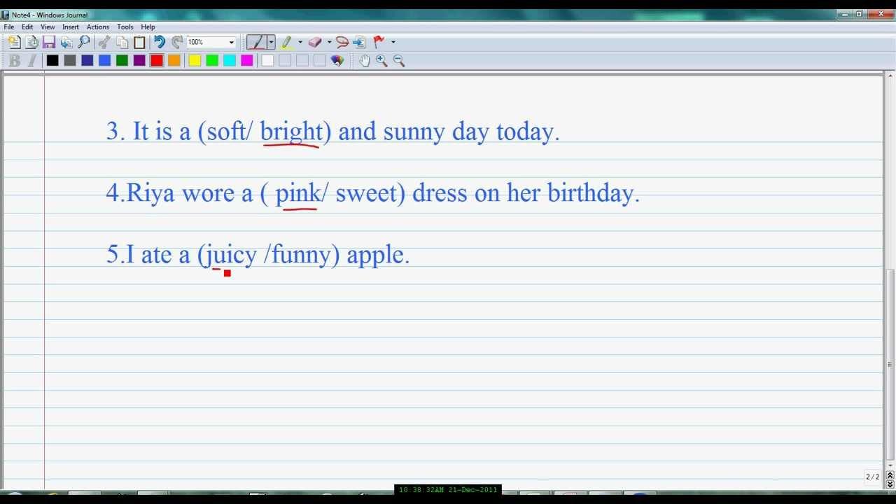 Underline the correct adjective CLASS 1 ICSE Describing Words  avi