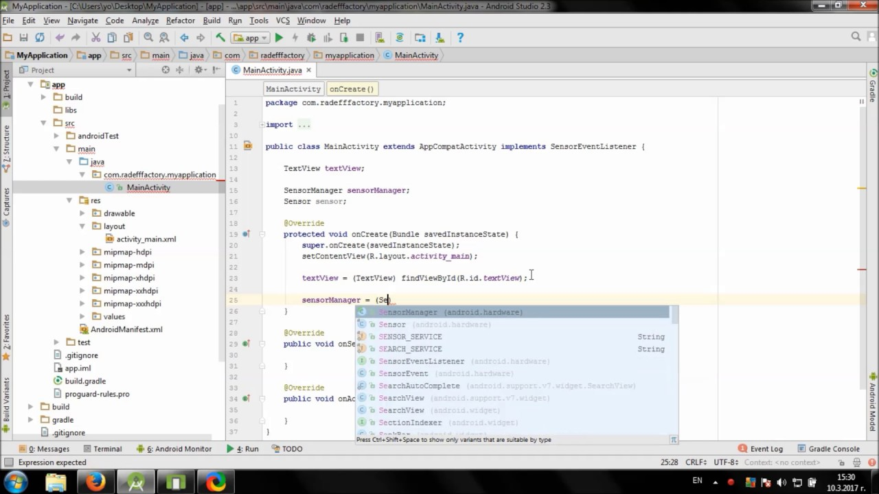 Working with Light Sensor in Android Studio - YouTube