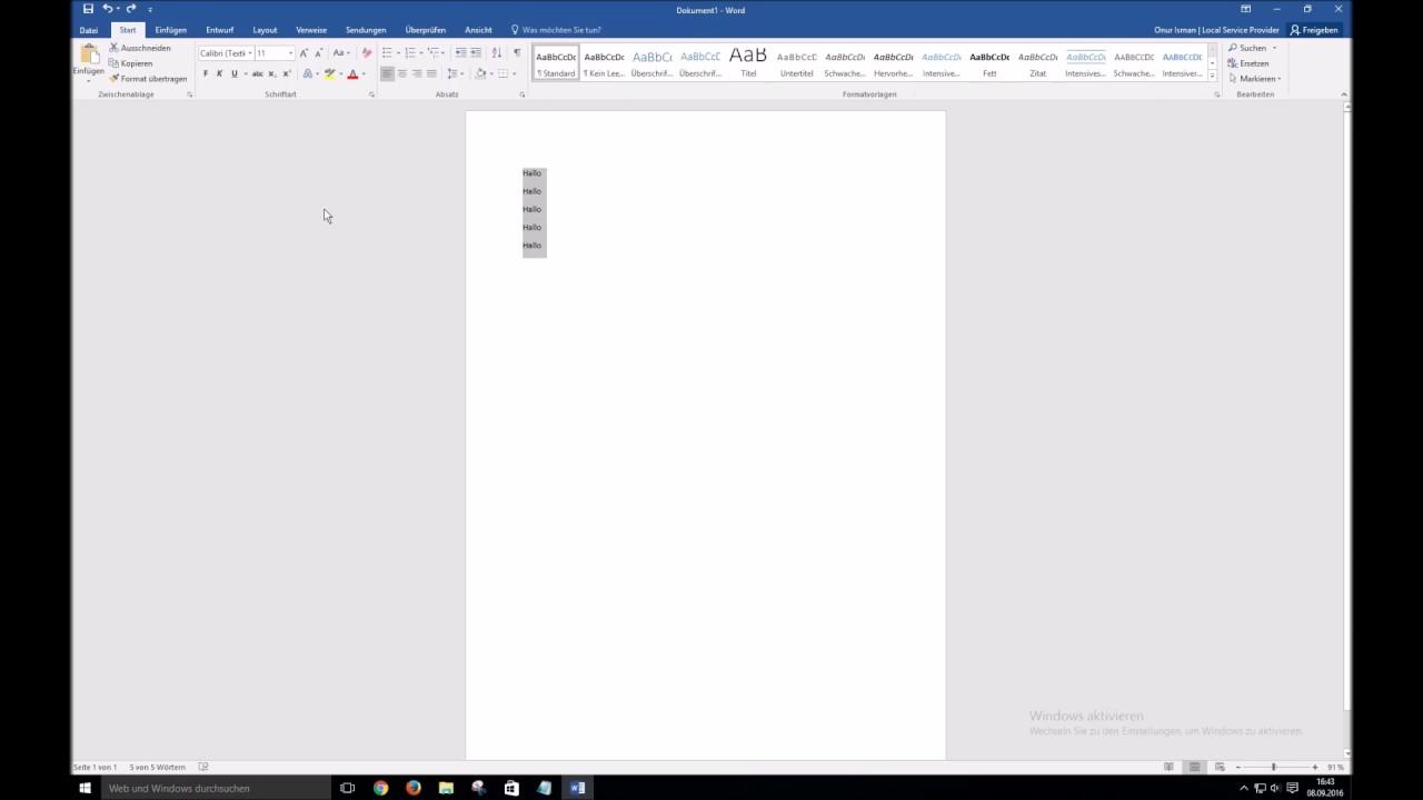 Word 2016 Zeilenabstand ändern - YouTube