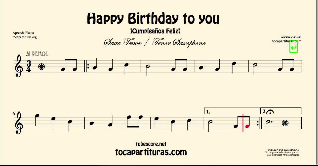 Happy Birthday Sheet Music For Tenor Saxophone Youtube