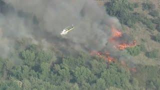 Santa Fe Fire: Crews battle brush fire in Irwindale