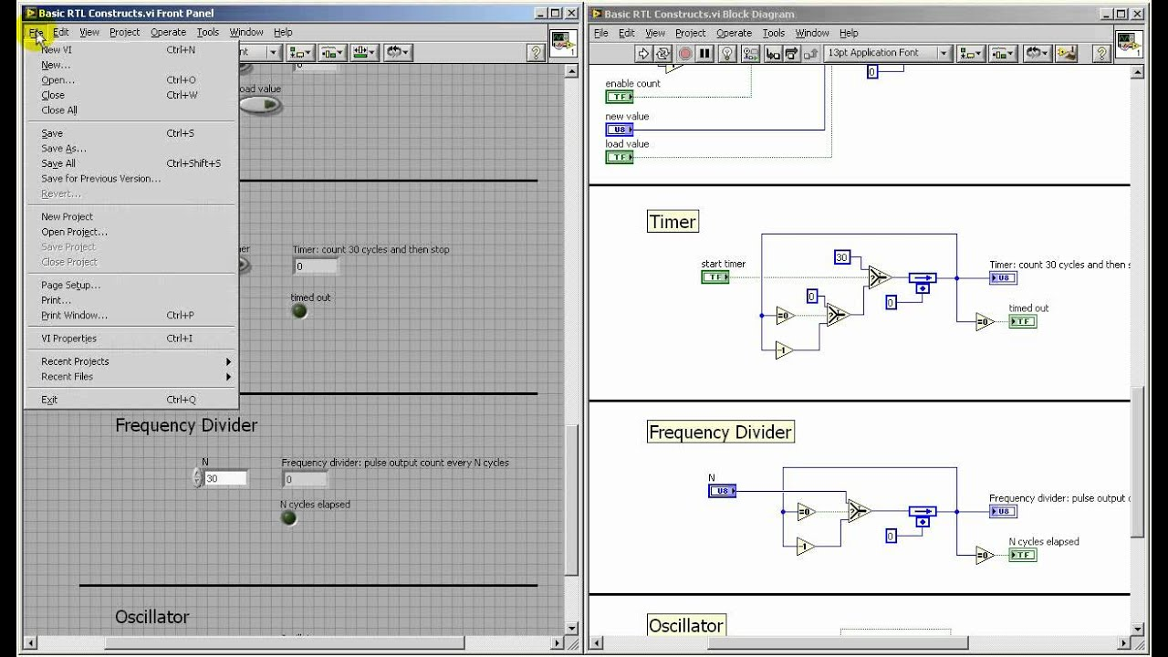 LabVIEW FPGA: Basic RTL constructs: timer, frequency divider, oscillator