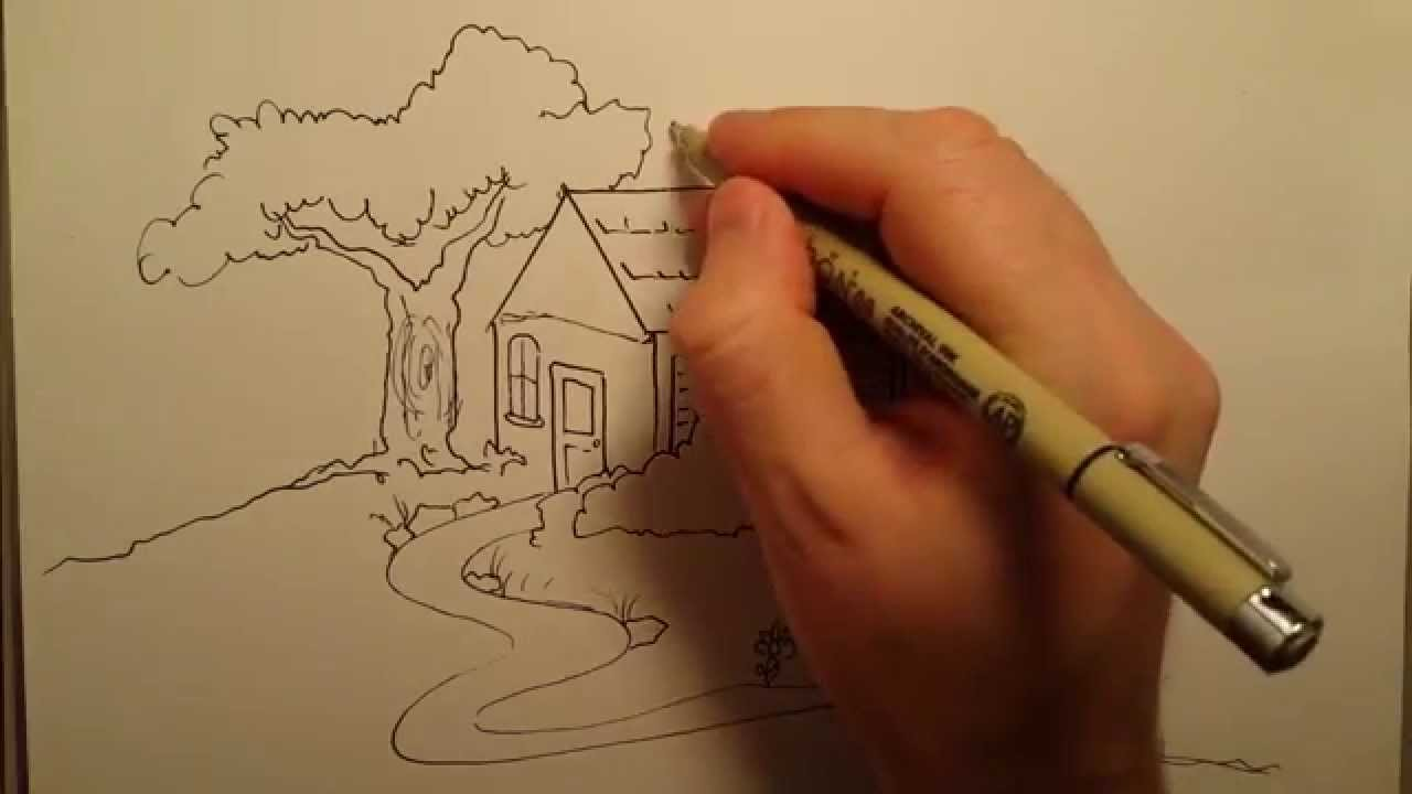How To Draw A House Freehand How To Draw Series For Kids Youtube