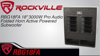 "Rockville RBG18FA 18"" 3000w Active Powered Pro Subwoofer Folded Horn PA/DJ Sub"