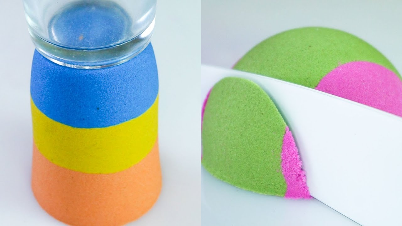 Sand Crunch and Cutting Very satisfying Kinetic Sand 02