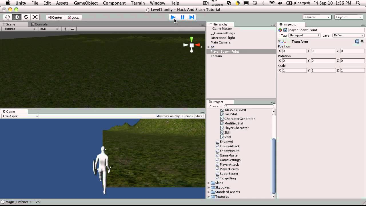42  Unity3d Tutorial - Player Spawn Point 1/2