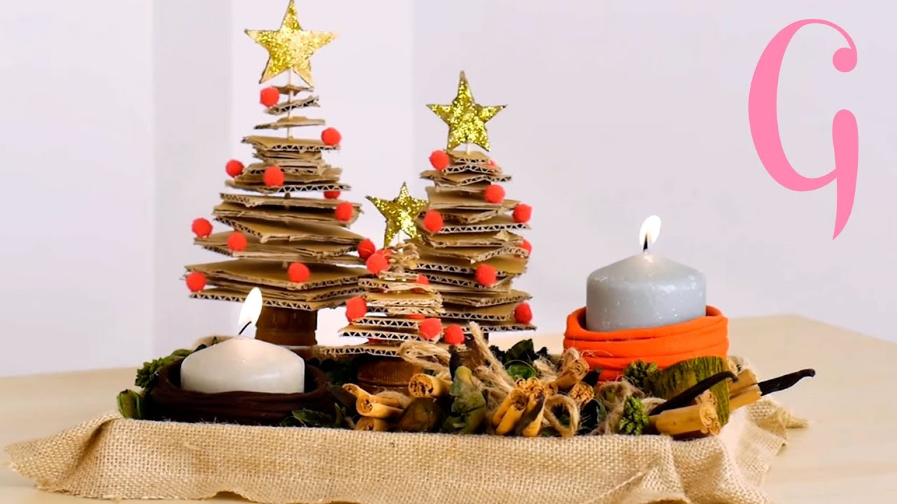 Centro de mesa de navidad reciclado diy youtube - Mesas para navidad ...