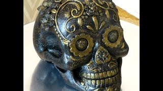Create one of a kind candy skull with a plaster skull, metal beads,...