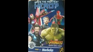 Unboxing and review of Avengers Infinity War cards. Free with 500 grams of horlicks