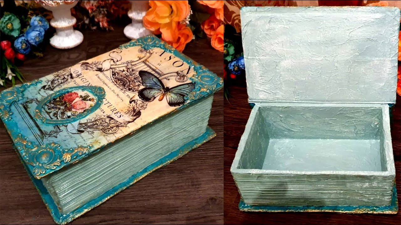 DIY /Vintage Box Book from recycle cardboard /CARDBOARD BOXES CRAFTS -  YouTube