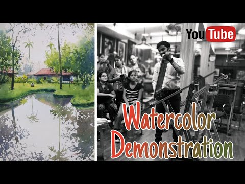 Live watercolor painting demonstration| Watercolor landscape painting| Watercolor reflection