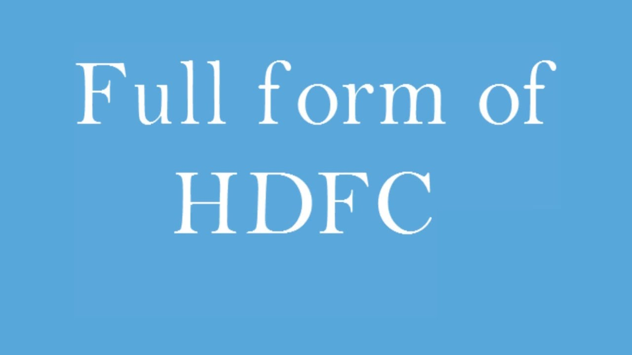 full form of HDFC - YouTube