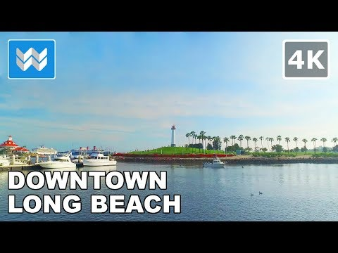 Walking around Downtown Long Beach, California - 4K