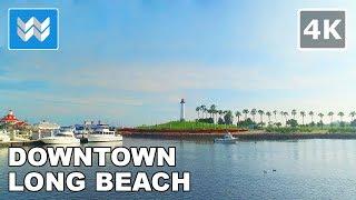 Walking around Downtown Long Beach, California 【4K】