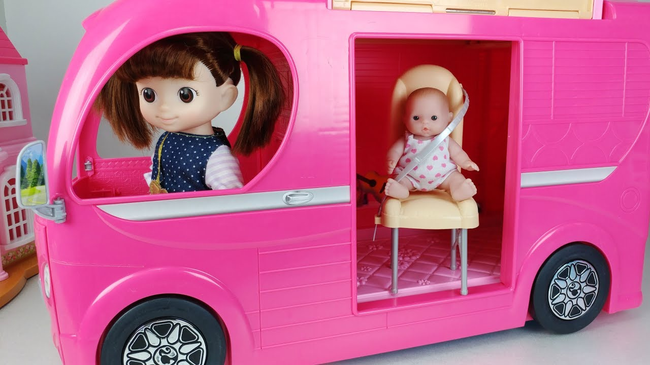 Baby Doll And Pink Camping Bus Toys Picnic Car Play 아기인형