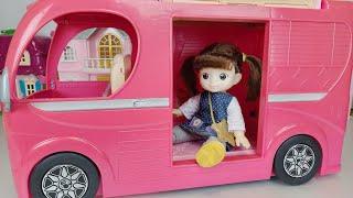 Baby Doll and pink camping BUS toys picnic car play 아기인형 핑크 캠핑 버스 피크닉 자동차 장난감놀이- 토이몽