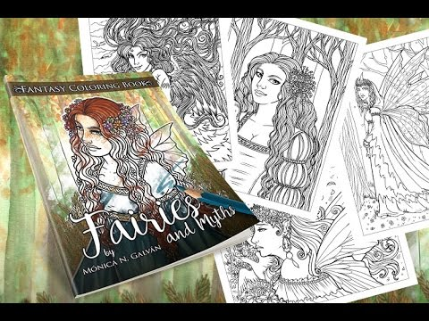 fairies and myths fantasy coloring book flip through monica ngalvan - Fantasy Coloring Book