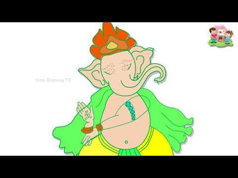 Drawing Ganesha Vinayaka Indian god draw Paint And Colouring For Kids | Kids Drawing TV