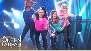 semi finalists perform in the ultimate mom dance off contest on the queen latifah show