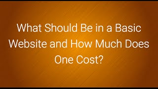 what should be in a basic website and how much does one cost?