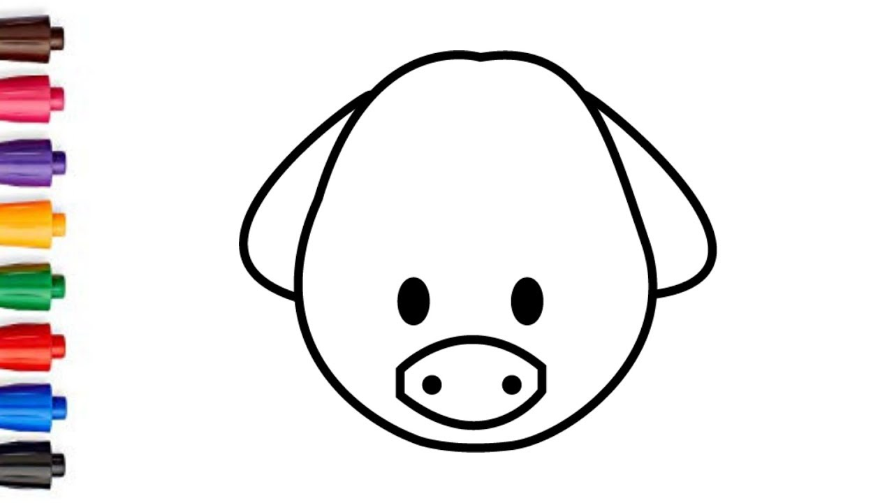 How To Draw A Cute Pig Face 4 Pig Face Drawing And Coloring For