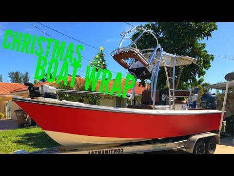 DIY Christmas Fishing Boat Wrap Red For Holidays!!! How To Wrap Boat Carbon Fiber Red