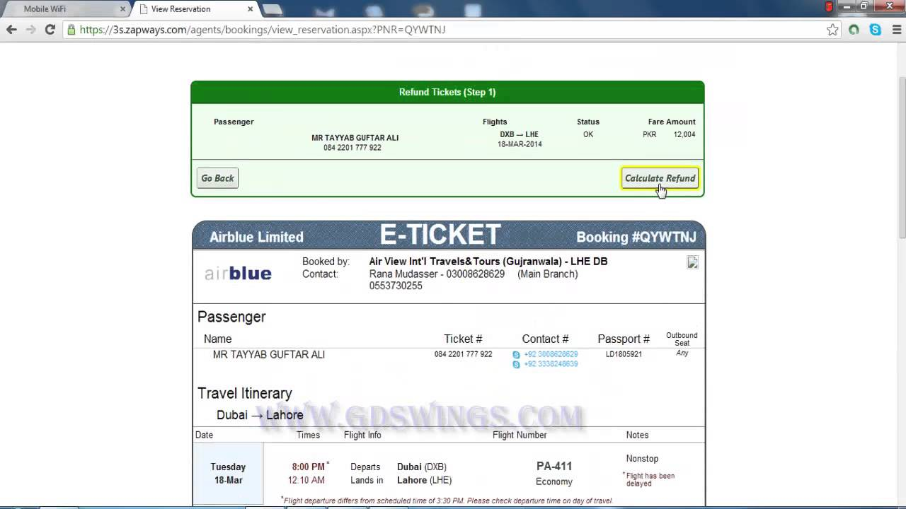 HOW TO FULL REFUND A TICKET IN AIRBLUE IN URDU PART 5