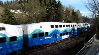 Sounder commuter train warns trespassers at Picnic Point
