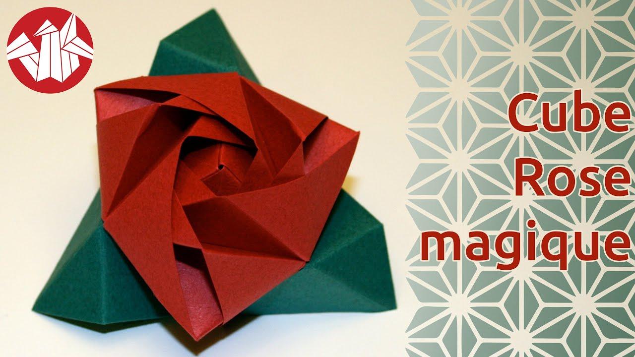 Bien connu Origami - Cube Rose Magique - Magic Rose Cube [Senbazuru] - YouTube KB46