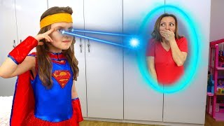 Supergirl Costume & Play Hide and Seek with Super Elsa