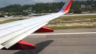 Southwest taking off from Montego bay Jamaica