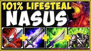 1 NASUS Q = INSTA HEAL TO FULL HP?? 101% LIFESTEAL NASUS IS 100% UNFAIR! League of Legends Gameplay