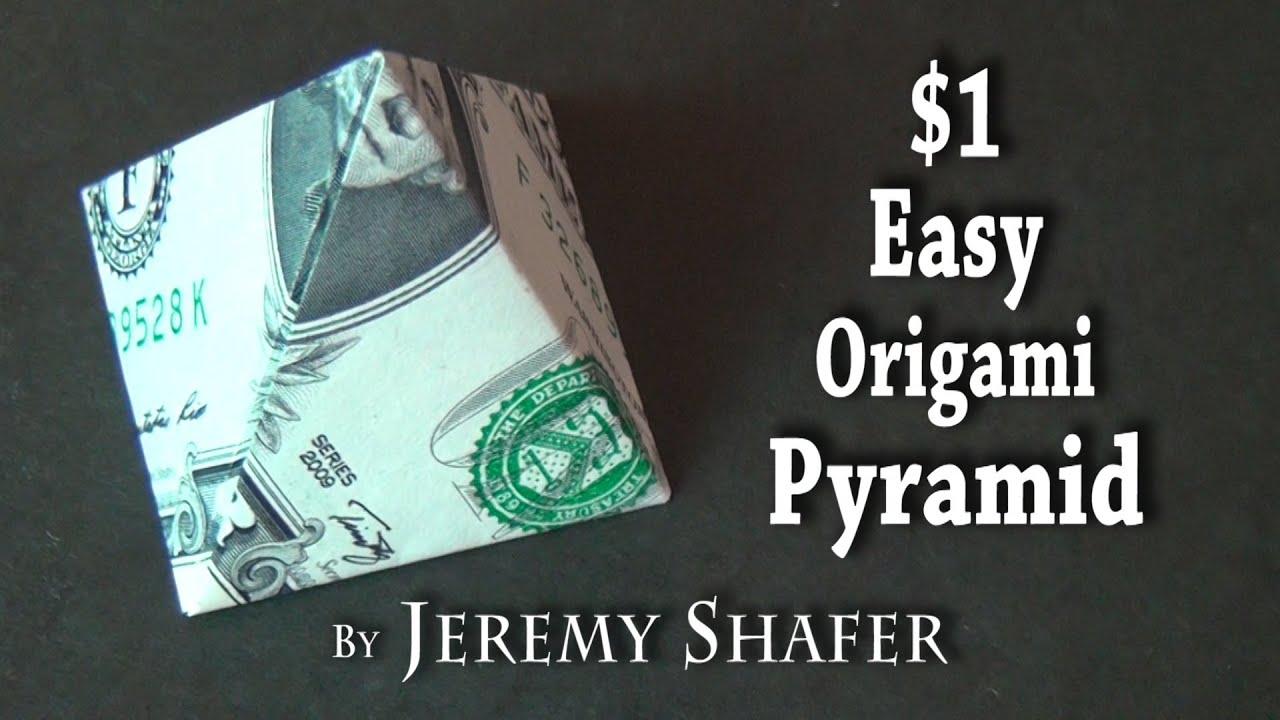 One dollar easy origami pyramid youtube one dollar easy origami pyramid jeuxipadfo Image collections