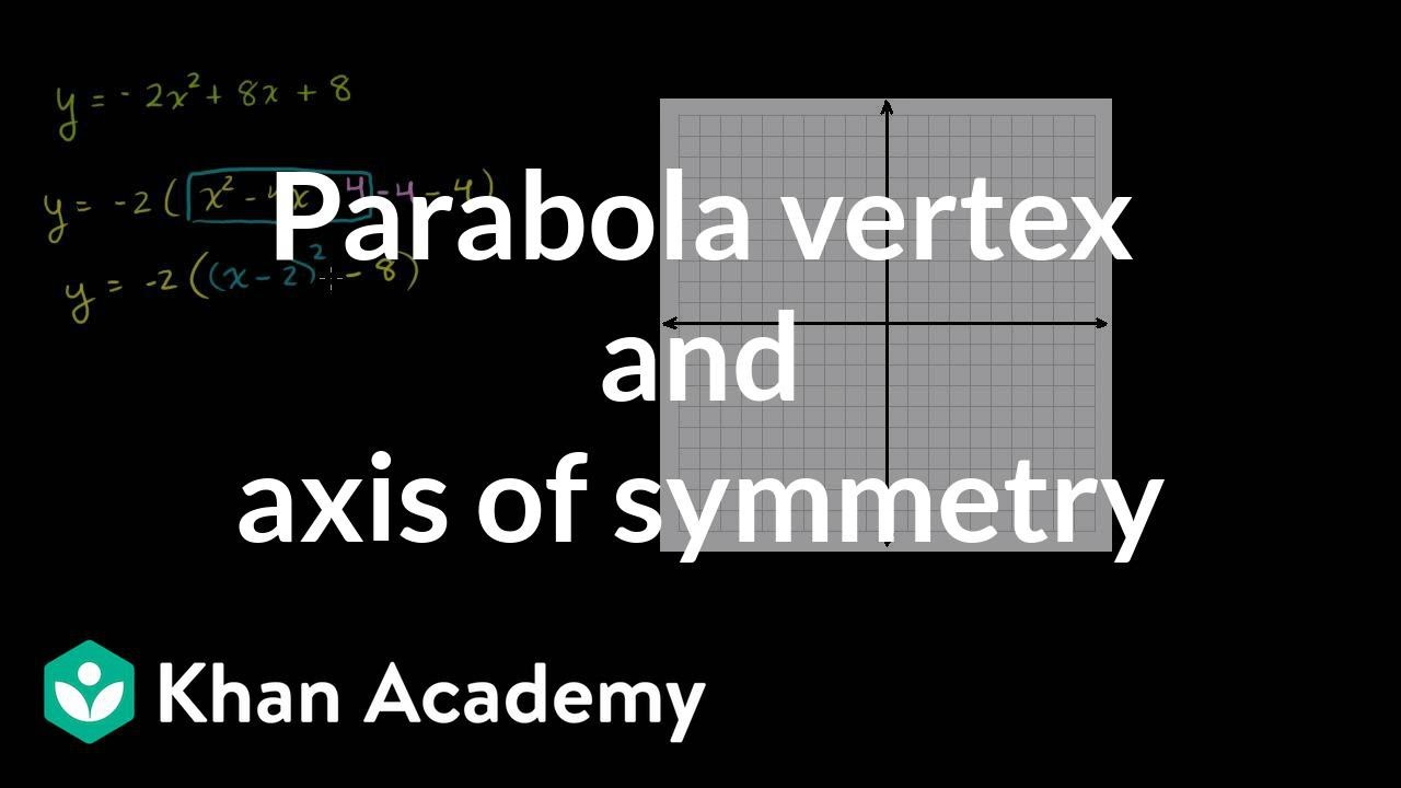 Parabola vertex and axis of symmetry quadratic equations parabola vertex and axis of symmetry quadratic equations algebra i khan academy youtube robcynllc Images