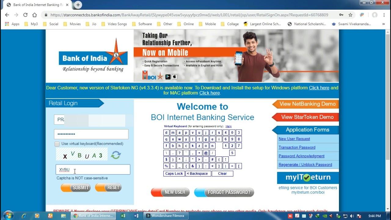 internet banking registration bank of india