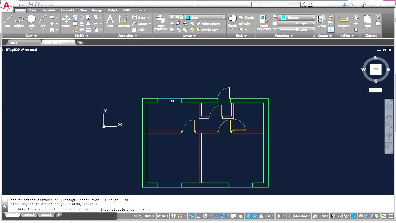 Autocad complete floor plan part 3 adding doors for House plans you can add onto later
